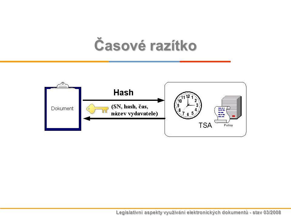 Legislativní aspekty využívání elektronických dokumentů - stav 03/2008 Časové razítko