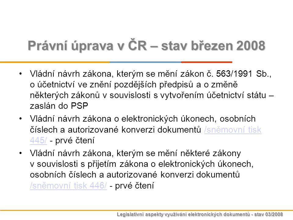 Legislativní aspekty využívání elektronických dokumentů - stav 03/2008 Právní úprava v ČR – stav březen 2008 Vládní návrh zákona, kterým se mění zákon