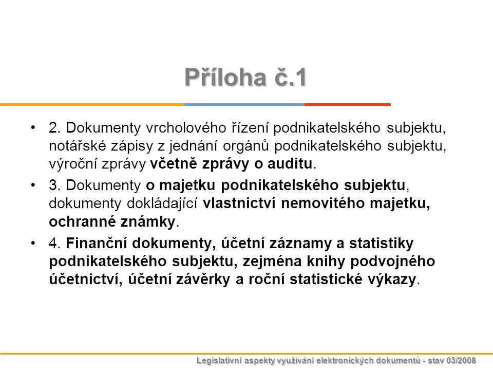 Legislativní aspekty využívání elektronických dokumentů - stav 03/2008 Příloha č.1 2. Dokumenty vrcholového řízení podnikatelského subjektu, notářské