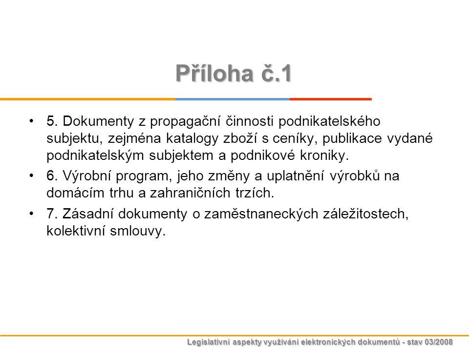Legislativní aspekty využívání elektronických dokumentů - stav 03/2008 Příloha č.1 5. Dokumenty z propagační činnosti podnikatelského subjektu, zejmén
