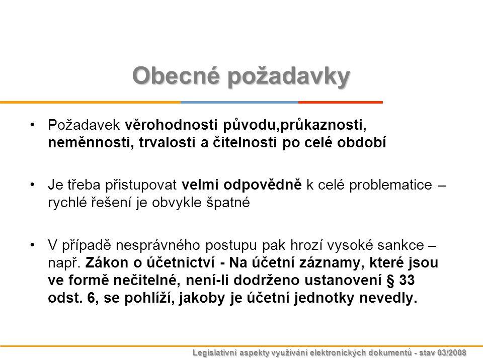 Legislativní aspekty využívání elektronických dokumentů - stav 03/2008 Obecné požadavky Požadavek věrohodnosti původu,průkaznosti, neměnnosti, trvalos