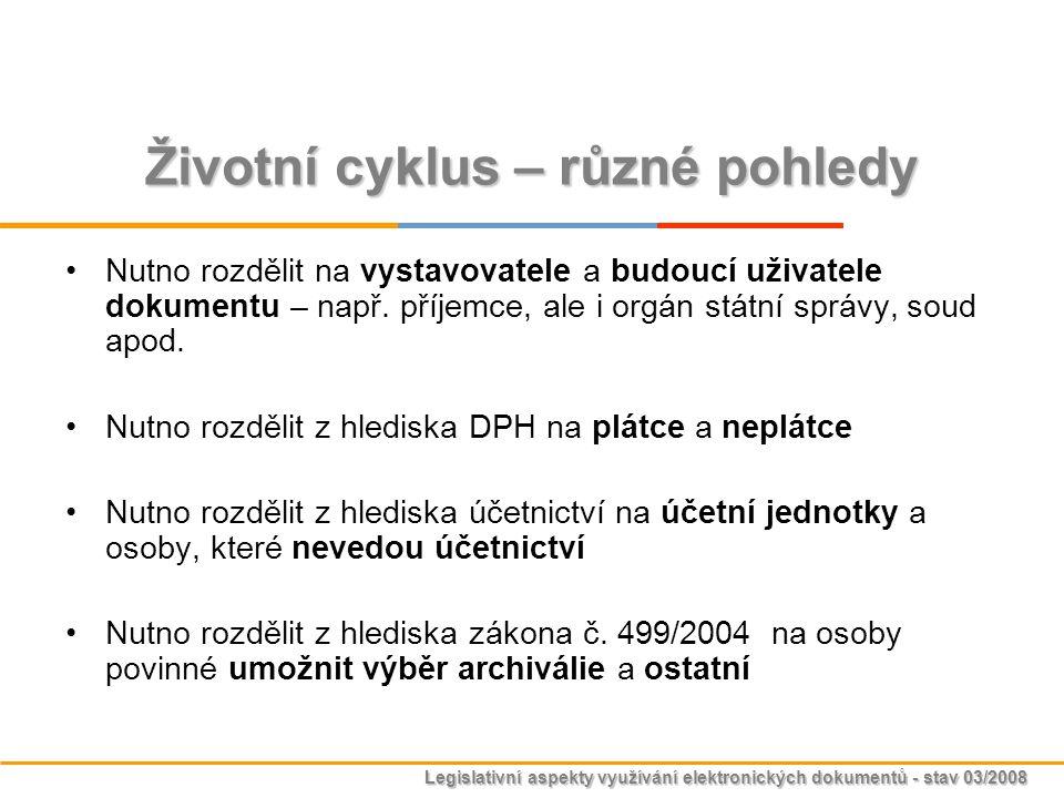 Legislativní aspekty využívání elektronických dokumentů - stav 03/2008 Životní cyklus – různé pohledy Nutno rozdělit na vystavovatele a budoucí uživat