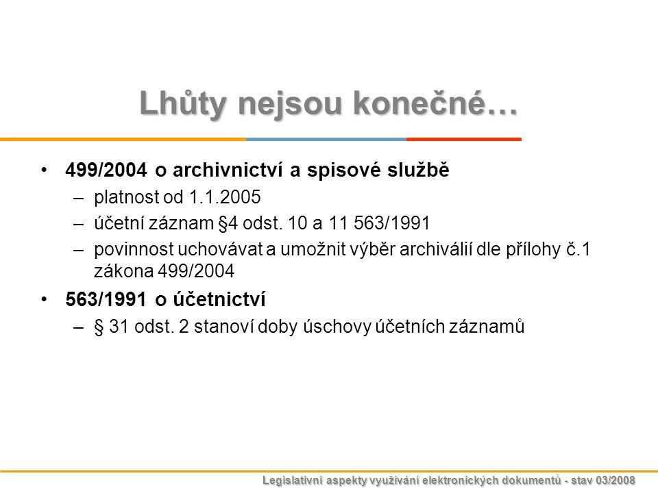 Legislativní aspekty využívání elektronických dokumentů - stav 03/2008 Lhůty nejsou konečné… 499/2004 o archivnictví a spisové službě –platnost od 1.1
