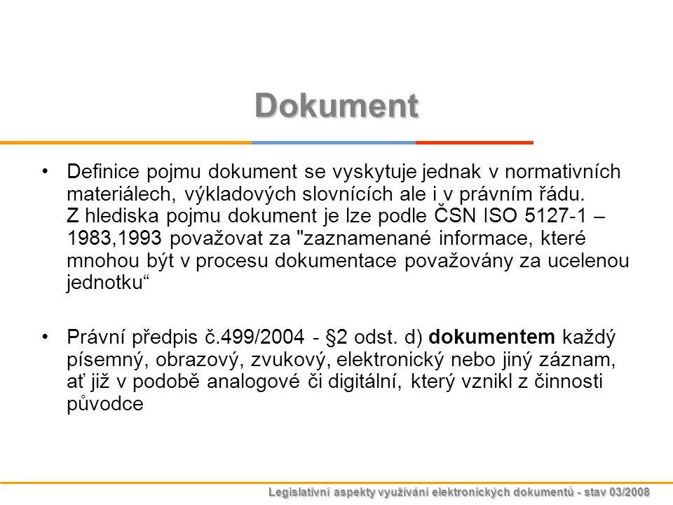 Legislativní aspekty využívání elektronických dokumentů - stav 03/2008 Typy ETSI / 1999/93/ES Elektronický podpis (General Electronic Signature) Zaručený elektronický podpis (Advanced Electronic Signature) Zaručený elektronický podpis založený na kvalifikovaném certifikátu (Advanced Electronic Signature Using Qualified Certificate) Kvalifikovaný podpis (Qualified Electronic Signature) * prostředek Vylepšený elektronický podpis (Enhanced electronic signature) Kvalifikovaný podpis určený pro archivaci dat (Qualified Electronic Signature with Long-term Validity ) * časové razítko