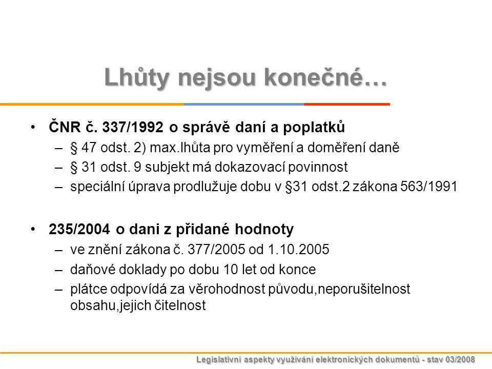Legislativní aspekty využívání elektronických dokumentů - stav 03/2008 Lhůty nejsou konečné… ČNR č. 337/1992 o správě daní a poplatků –§ 47 odst. 2) m