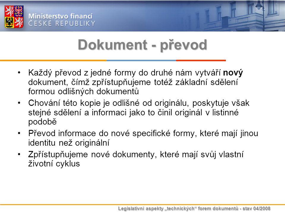 """Legislativní aspekty """"technických"""" forem dokumentů - stav 04/2008 Dokument - převod Každý převod z jedné formy do druhé nám vytváří nový dokument, čím"""