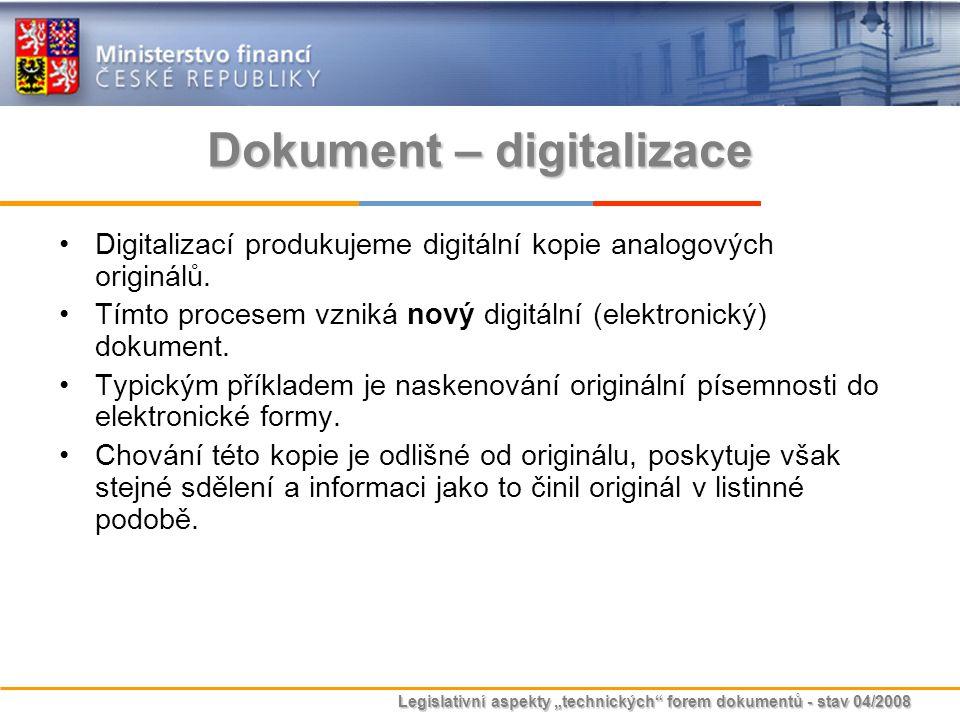 """Legislativní aspekty """"technických"""" forem dokumentů - stav 04/2008 Dokument – digitalizace Digitalizací produkujeme digitální kopie analogových originá"""