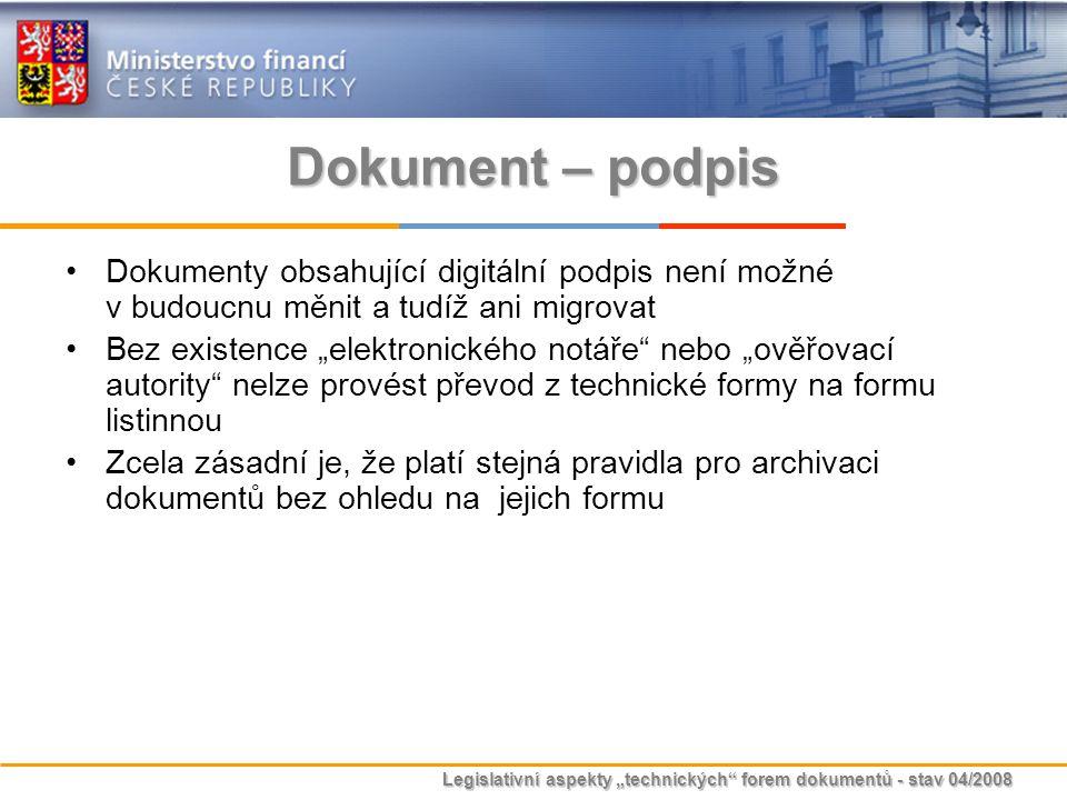 """Legislativní aspekty """"technických"""" forem dokumentů - stav 04/2008 Dokument – podpis Dokumenty obsahující digitální podpis není možné v budoucnu měnit"""