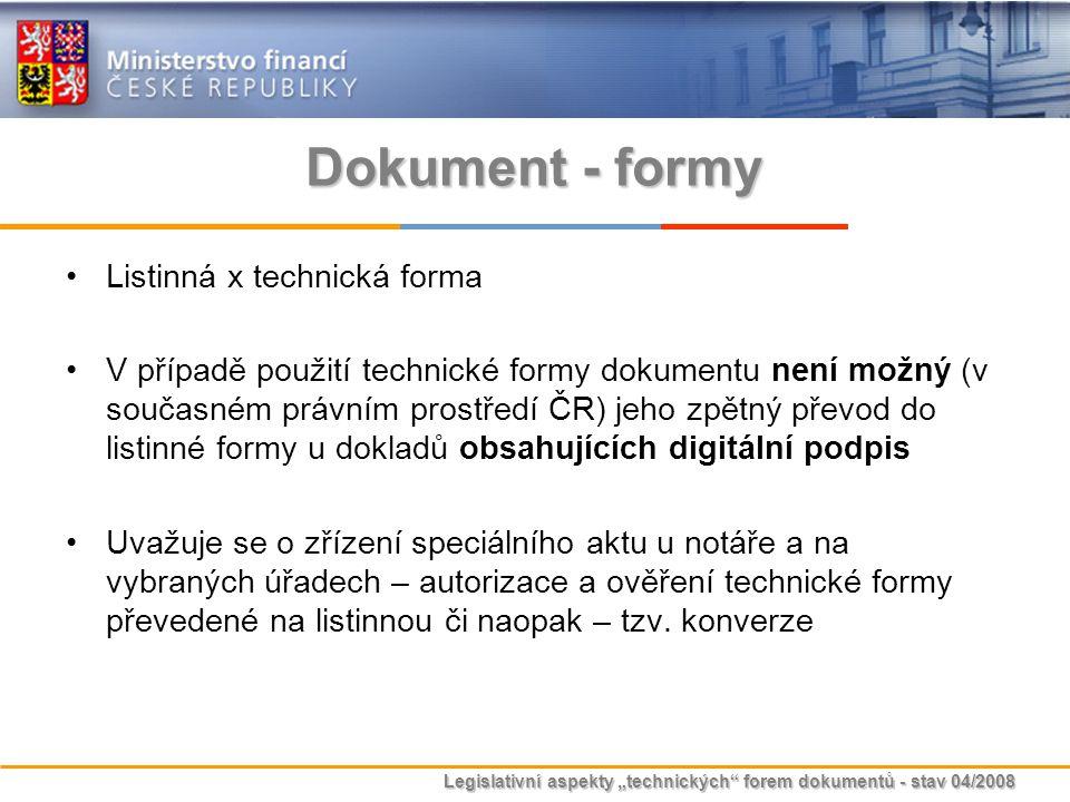 """Legislativní aspekty """"technických"""" forem dokumentů - stav 04/2008 Dokument - formy Listinná x technická forma V případě použití technické formy dokume"""