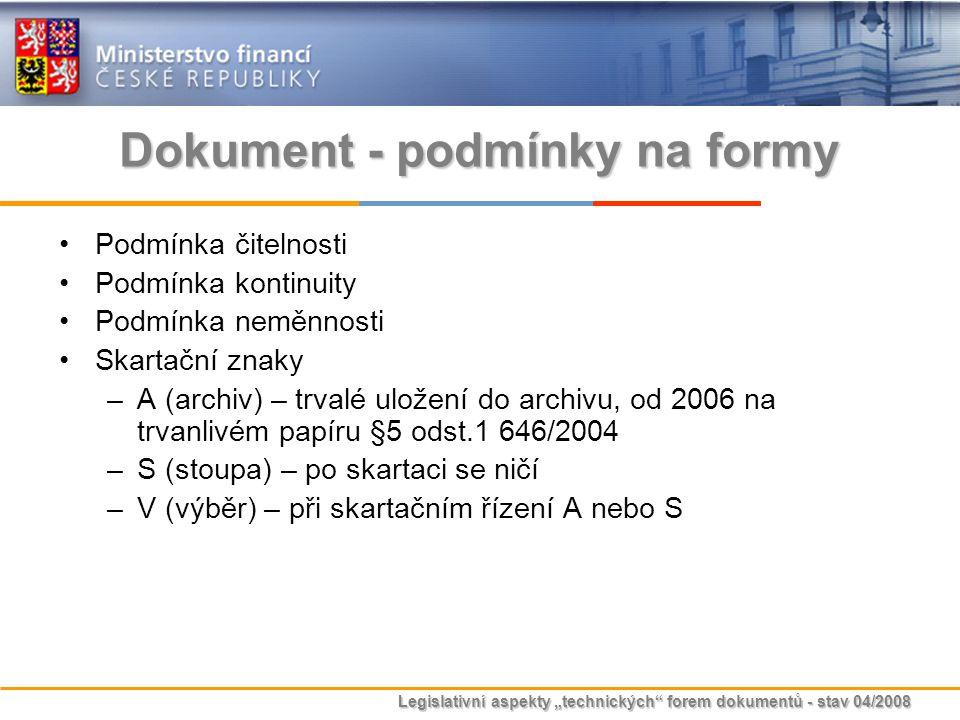 """Legislativní aspekty """"technických"""" forem dokumentů - stav 04/2008 Dokument - podmínky na formy Podmínka čitelnosti Podmínka kontinuity Podmínka neměnn"""