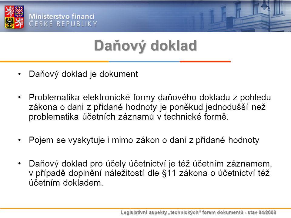 """Legislativní aspekty """"technických"""" forem dokumentů - stav 04/2008 Daňový doklad Daňový doklad je dokument Problematika elektronické formy daňového dok"""