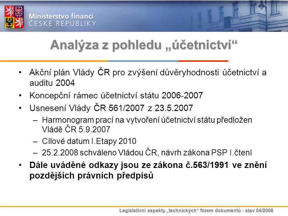 """Legislativní aspekty """"technických"""" forem dokumentů - stav 04/2008 Analýza z pohledu """"účetnictví"""" Akční plán Vlády ČR pro zvýšení důvěryhodnosti účetni"""