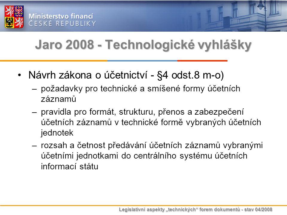 """Legislativní aspekty """"technických"""" forem dokumentů - stav 04/2008 Jaro 2008 - Technologické vyhlášky Návrh zákona o účetnictví - §4 odst.8 m-o) –požad"""
