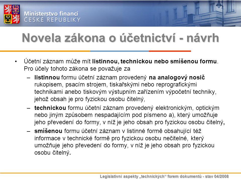 """Legislativní aspekty """"technických"""" forem dokumentů - stav 04/2008 Novela zákona o účetnictví - návrh Účetní záznam může mít listinnou, technickou nebo"""