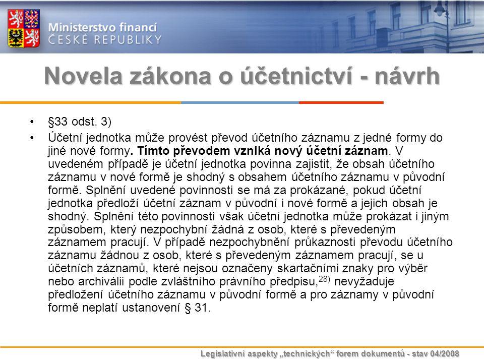 """Legislativní aspekty """"technických"""" forem dokumentů - stav 04/2008 Novela zákona o účetnictví - návrh §33 odst. 3) Účetní jednotka může provést převod"""