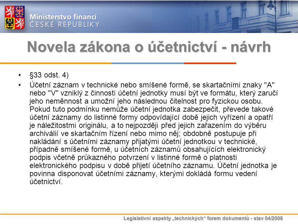 """Legislativní aspekty """"technických"""" forem dokumentů - stav 04/2008 Novela zákona o účetnictví - návrh §33 odst. 4) Účetní záznam v technické nebo smíše"""