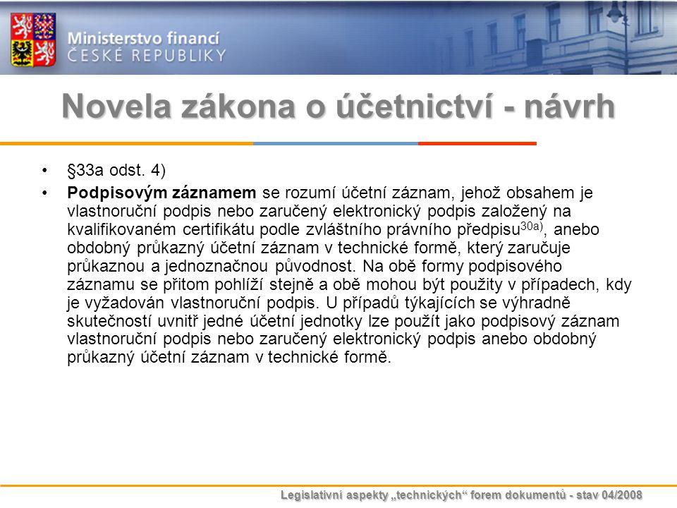 """Legislativní aspekty """"technických"""" forem dokumentů - stav 04/2008 Novela zákona o účetnictví - návrh §33a odst. 4) Podpisovým záznamem se rozumí účetn"""
