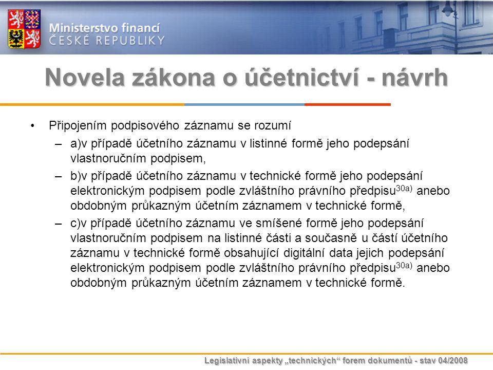 """Legislativní aspekty """"technických"""" forem dokumentů - stav 04/2008 Novela zákona o účetnictví - návrh Připojením podpisového záznamu se rozumí –a)v pří"""