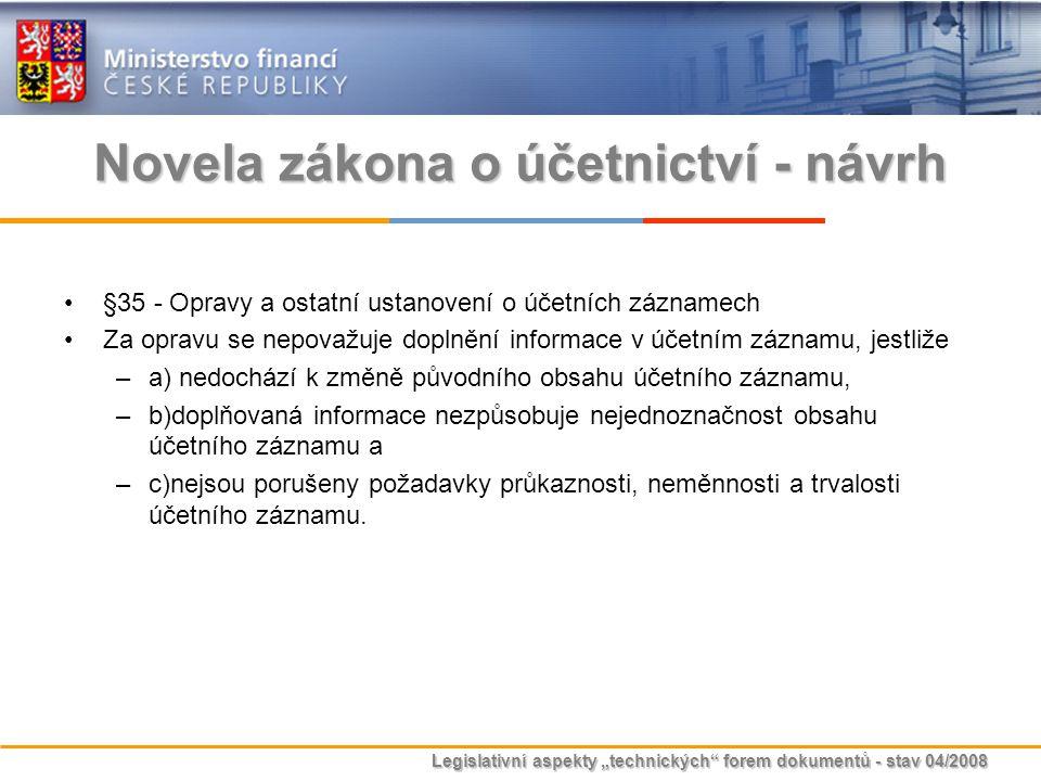 """Legislativní aspekty """"technických"""" forem dokumentů - stav 04/2008 Novela zákona o účetnictví - návrh §35 - Opravy a ostatní ustanovení o účetních zázn"""