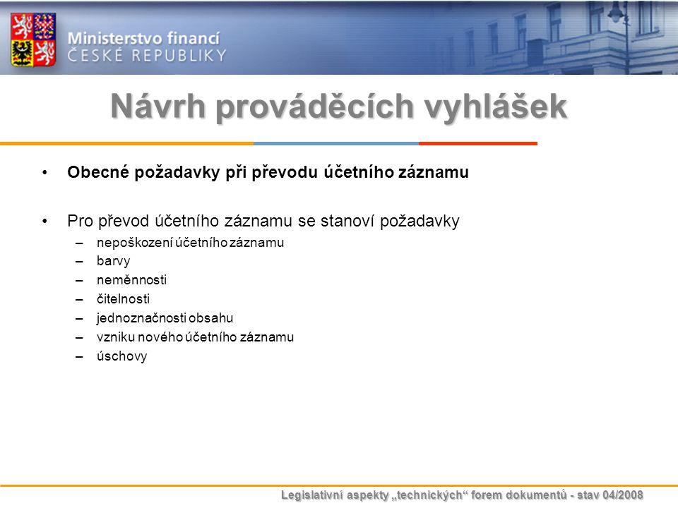 """Legislativní aspekty """"technických"""" forem dokumentů - stav 04/2008 Návrh prováděcích vyhlášek Obecné požadavky při převodu účetního záznamu Pro převod"""