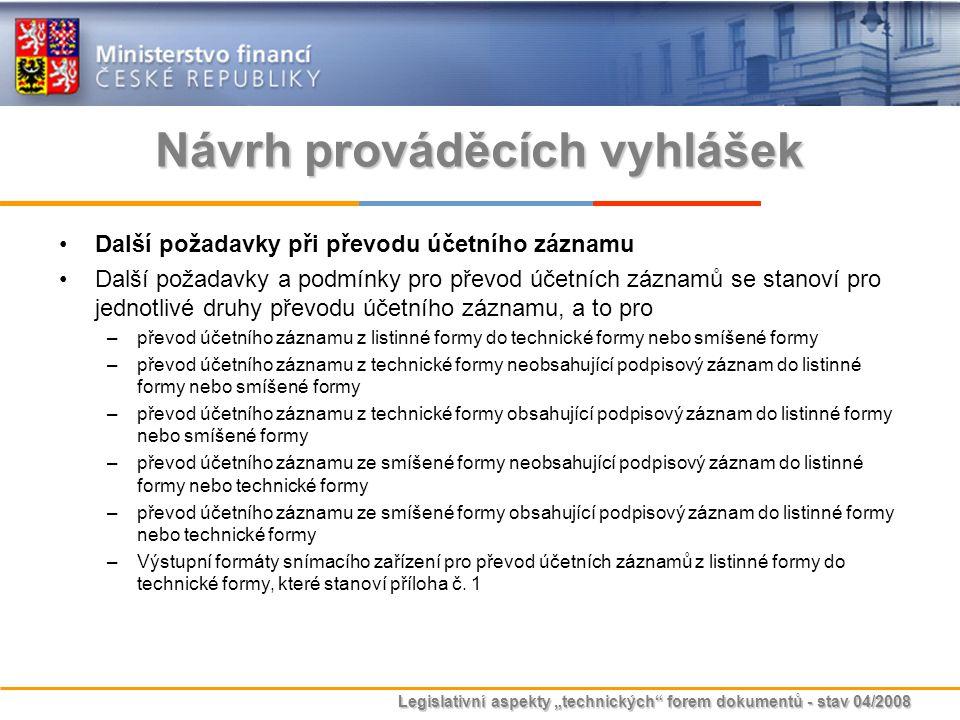 """Legislativní aspekty """"technických"""" forem dokumentů - stav 04/2008 Návrh prováděcích vyhlášek Další požadavky při převodu účetního záznamu Další požada"""