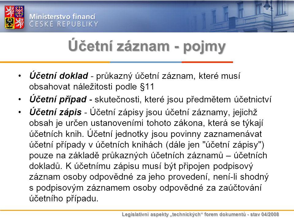 """Legislativní aspekty """"technických"""" forem dokumentů - stav 04/2008 Účetní záznam - pojmy Účetní doklad - průkazný účetní záznam, které musí obsahovat n"""