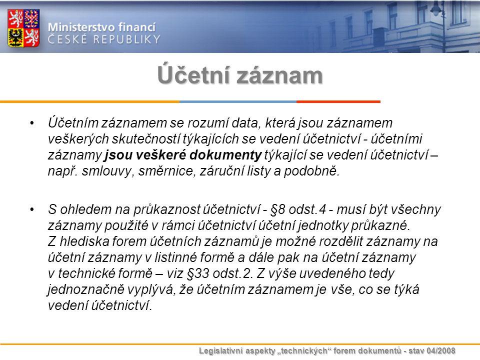 """Legislativní aspekty """"technických"""" forem dokumentů - stav 04/2008 Účetní záznam Účetním záznamem se rozumí data, která jsou záznamem veškerých skutečn"""