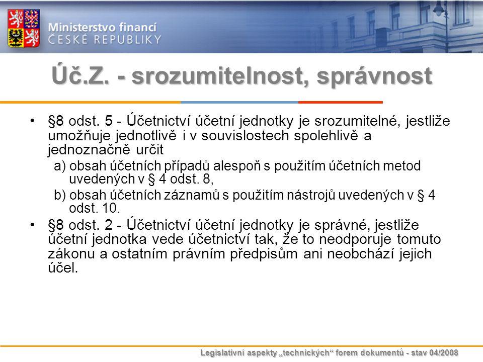 """Legislativní aspekty """"technických"""" forem dokumentů - stav 04/2008 Úč.Z. - srozumitelnost, správnost §8 odst. 5 - Účetnictví účetní jednotky je srozumi"""