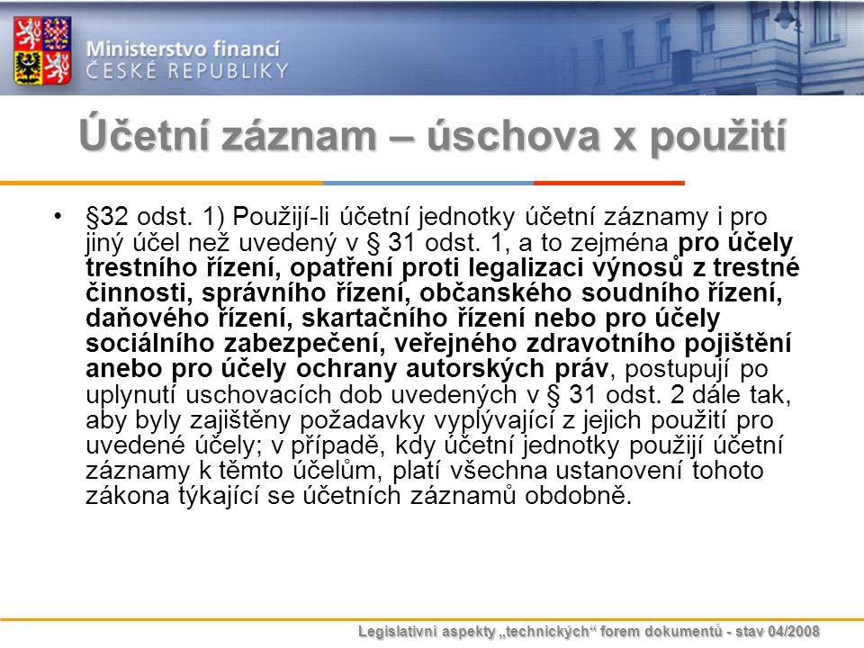 """Legislativní aspekty """"technických"""" forem dokumentů - stav 04/2008 Účetní záznam – úschova x použití §32 odst. 1) Použijí-li účetní jednotky účetní záz"""