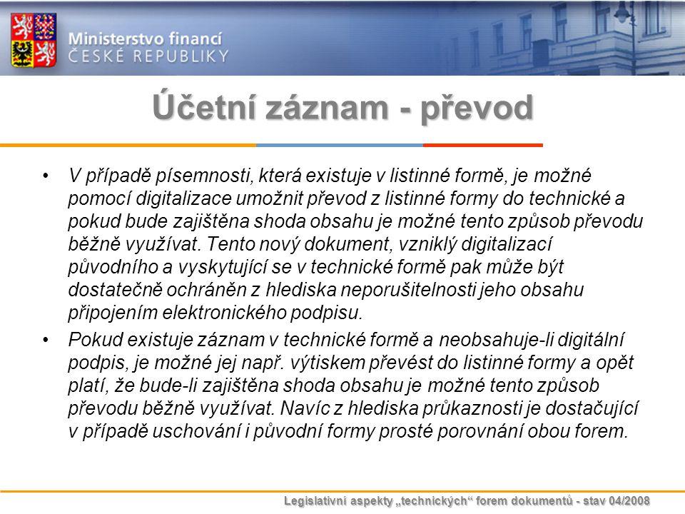 """Legislativní aspekty """"technických"""" forem dokumentů - stav 04/2008 Účetní záznam - převod V případě písemnosti, která existuje v listinné formě, je mož"""
