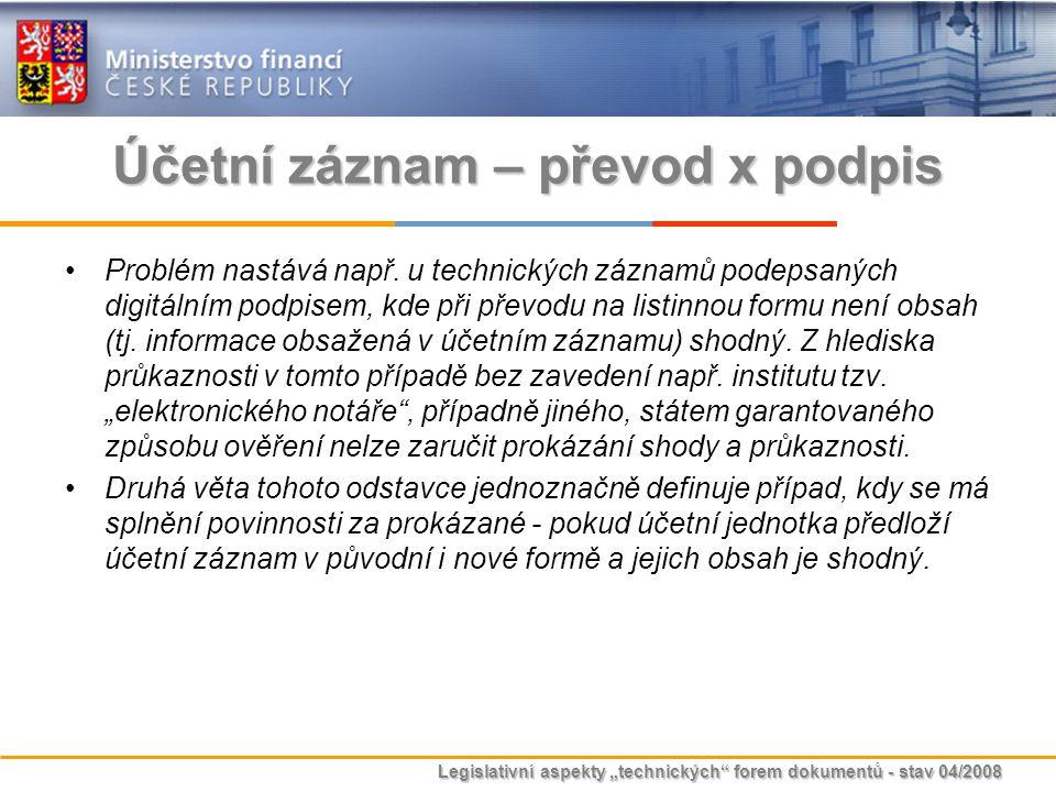 """Legislativní aspekty """"technických"""" forem dokumentů - stav 04/2008 Účetní záznam – převod x podpis Problém nastává např. u technických záznamů podepsan"""