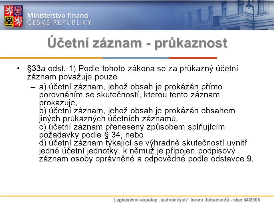 """Legislativní aspekty """"technických"""" forem dokumentů - stav 04/2008 Účetní záznam - průkaznost §33a odst. 1) Podle tohoto zákona se za průkazný účetní z"""