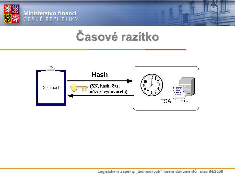 """Legislativní aspekty """"technických"""" forem dokumentů - stav 04/2008 Časové razítko"""