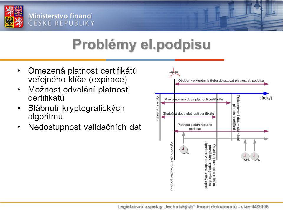 """Legislativní aspekty """"technických"""" forem dokumentů - stav 04/2008 Problémy el.podpisu Omezená platnost certifikátů veřejného klíče (expirace) Možnost"""