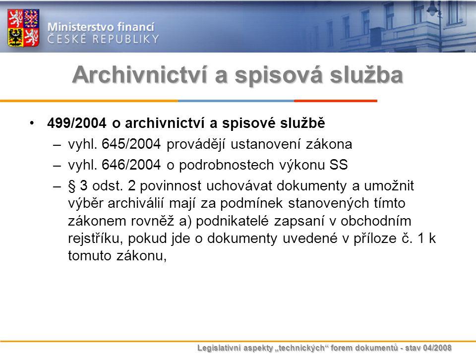 """Legislativní aspekty """"technických"""" forem dokumentů - stav 04/2008 Archivnictví a spisová služba 499/2004 o archivnictví a spisové službě –vyhl. 645/20"""