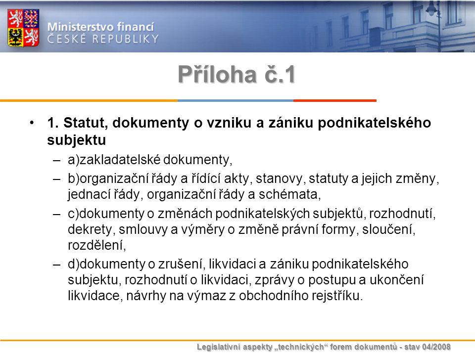 """Legislativní aspekty """"technických"""" forem dokumentů - stav 04/2008 Příloha č.1 1. Statut, dokumenty o vzniku a zániku podnikatelského subjektu –a)zakla"""