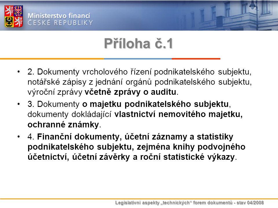 """Legislativní aspekty """"technických"""" forem dokumentů - stav 04/2008 Příloha č.1 2. Dokumenty vrcholového řízení podnikatelského subjektu, notářské zápis"""