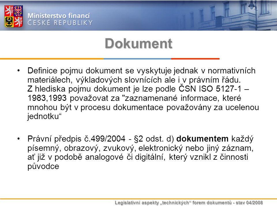 """Legislativní aspekty """"technických"""" forem dokumentů - stav 04/2008 Dokument Definice pojmu dokument se vyskytuje jednak v normativních materiálech, výk"""