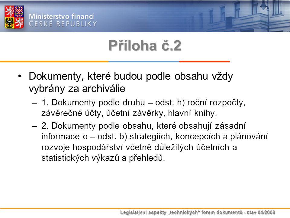 """Legislativní aspekty """"technických"""" forem dokumentů - stav 04/2008 Příloha č.2 Dokumenty, které budou podle obsahu vždy vybrány za archiválie –1. Dokum"""