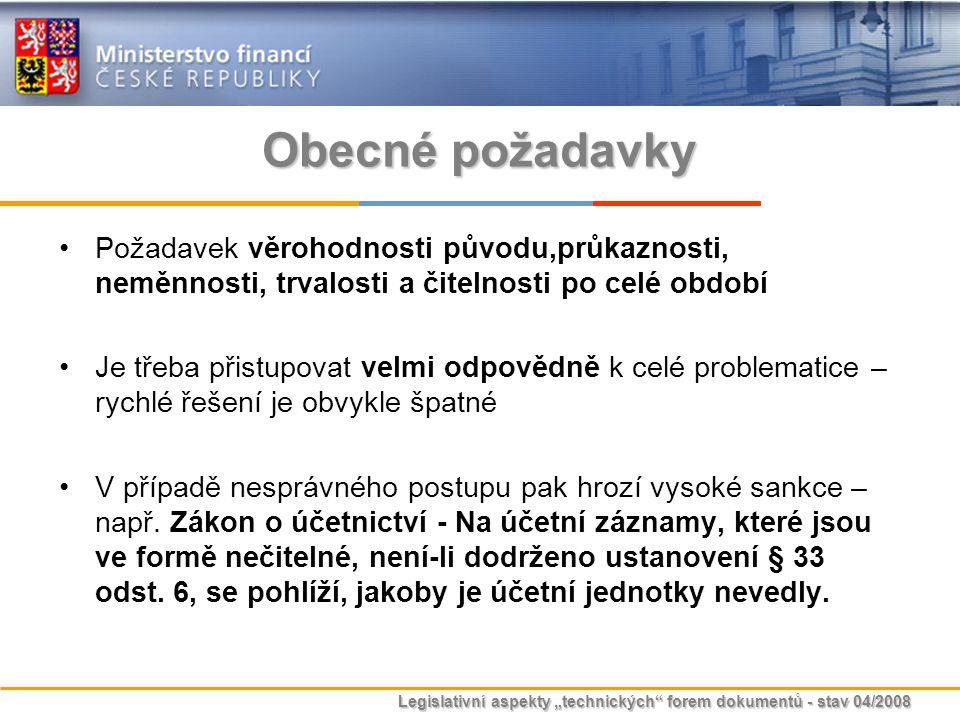 """Legislativní aspekty """"technických"""" forem dokumentů - stav 04/2008 Obecné požadavky Požadavek věrohodnosti původu,průkaznosti, neměnnosti, trvalosti a"""