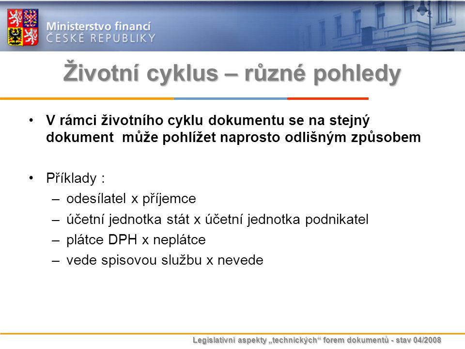 """Legislativní aspekty """"technických"""" forem dokumentů - stav 04/2008 Životní cyklus – různé pohledy V rámci životního cyklu dokumentu se na stejný dokume"""