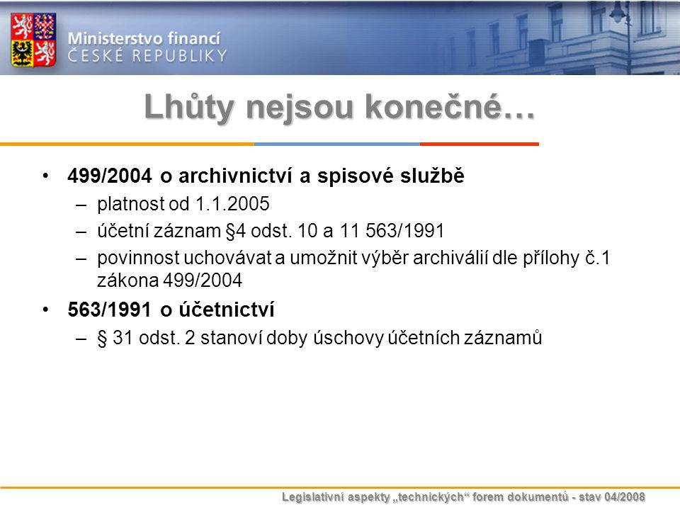 """Legislativní aspekty """"technických"""" forem dokumentů - stav 04/2008 Lhůty nejsou konečné… 499/2004 o archivnictví a spisové službě –platnost od 1.1.2005"""