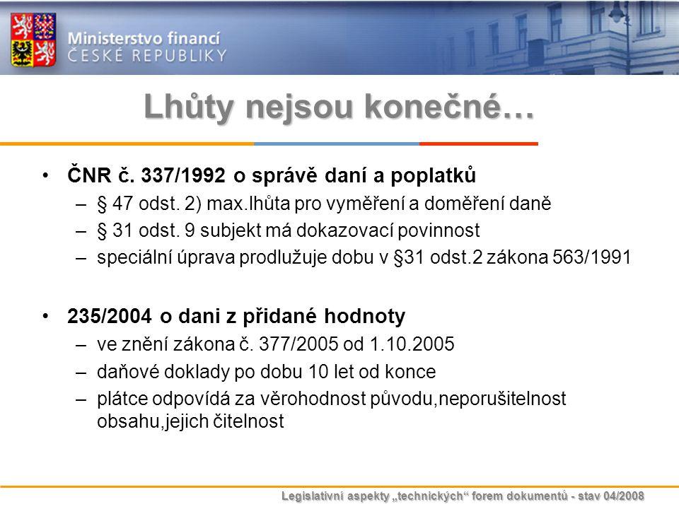 """Legislativní aspekty """"technických"""" forem dokumentů - stav 04/2008 Lhůty nejsou konečné… ČNR č. 337/1992 o správě daní a poplatků –§ 47 odst. 2) max.lh"""