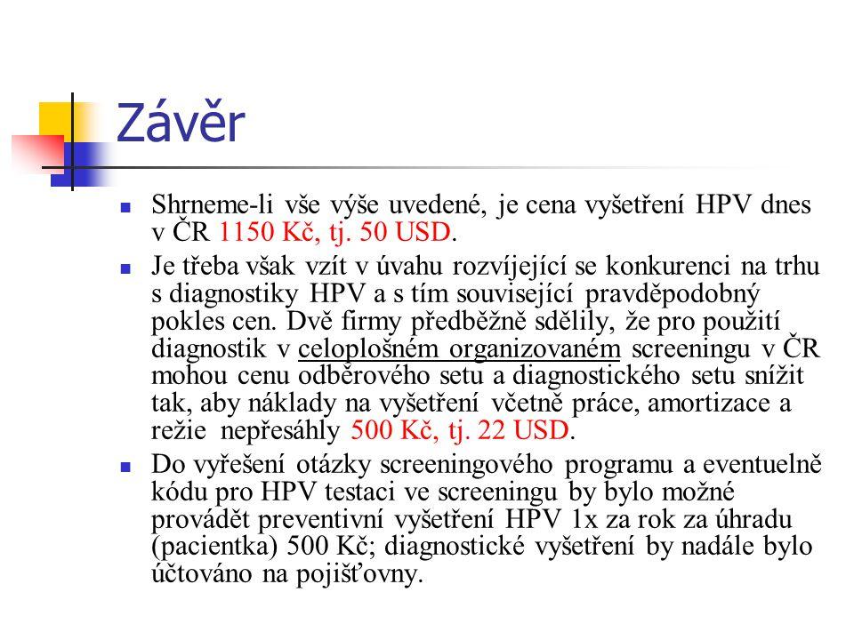 Závěr Shrneme-li vše výše uvedené, je cena vyšetření HPV dnes v ČR 1150 Kč, tj.