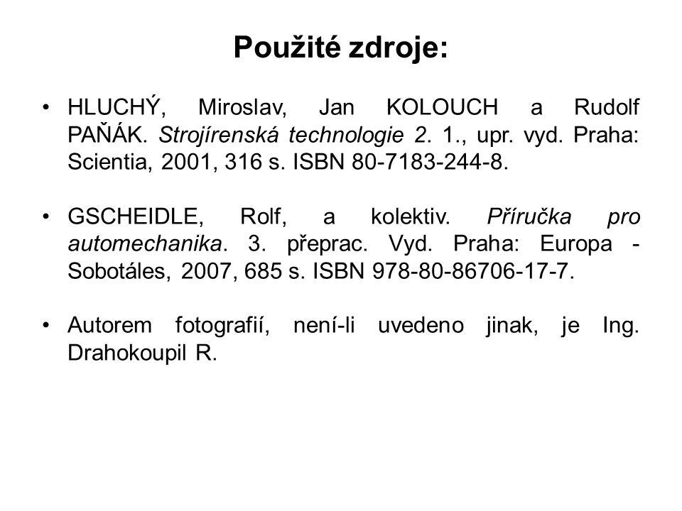 Použité zdroje: HLUCHÝ, Miroslav, Jan KOLOUCH a Rudolf PAŇÁK.