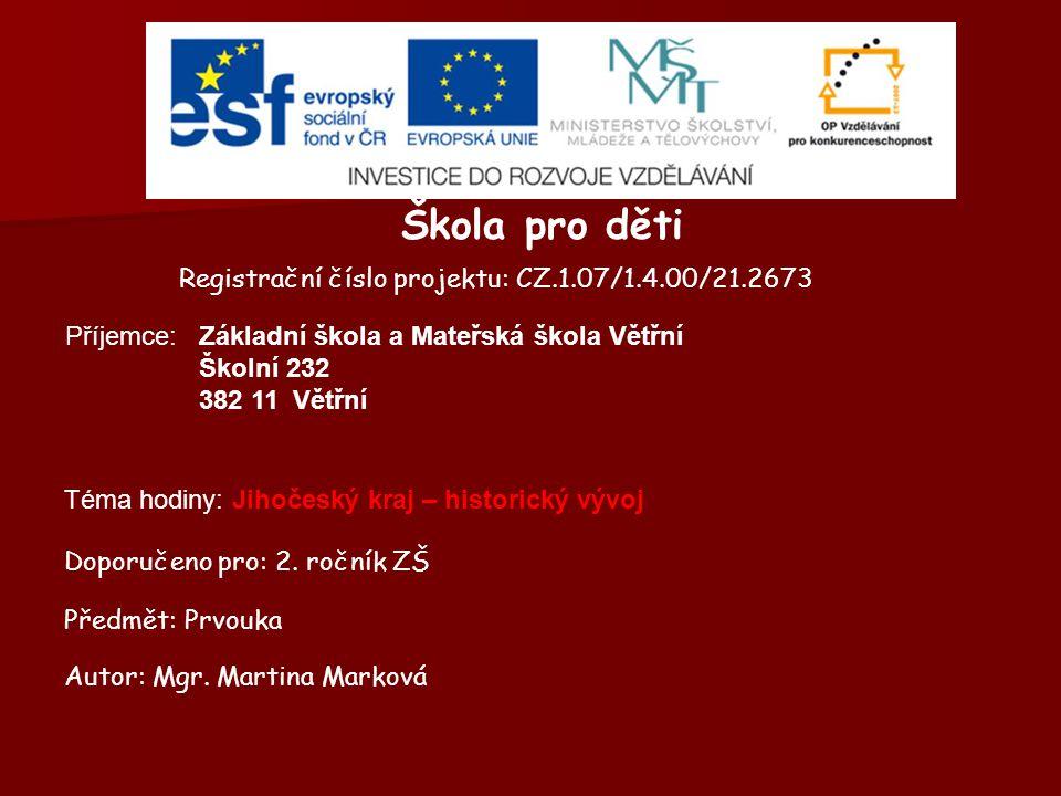 Škola pro děti Registrační číslo projektu: CZ.1.07/1.4.00/21.2673 Příjemce: Doporučeno pro: 2. ročník ZŠ Předmět: Prvouka Autor: Mgr. Martina Marková