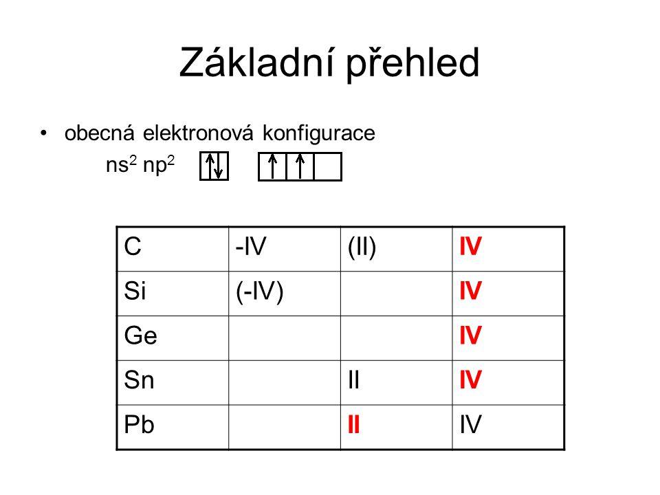 Základní přehled obecná elektronová konfigurace ns 2 np 2 C-IV(II)IV Si(-IV)IV GeIV SnIIIV PbIIIV