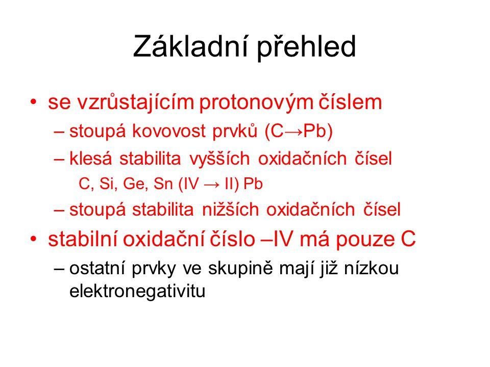 Základní přehled se vzrůstajícím protonovým číslem –stoupá kovovost prvků (C→Pb) –klesá stabilita vyšších oxidačních čísel C, Si, Ge, Sn (IV → II) Pb –stoupá stabilita nižších oxidačních čísel stabilní oxidační číslo –IV má pouze C –ostatní prvky ve skupině mají již nízkou elektronegativitu