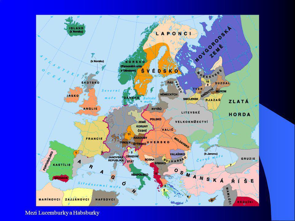 České země za Lucemburků - Karel 1316-1378 Jan L.-Eliška P.(dcera V.II+Guta Habsburská) Karel (Václav)vychován ve Francii – silné náboženské cítění, zkušenost s dominancí panovníka, jeho vychovatelem budoucí papež Kliment VI (papežem 1342) Svatba s Blankou z Valois Po Janově smrti dědí českou korunu a stává se silným adeptem na císařskou