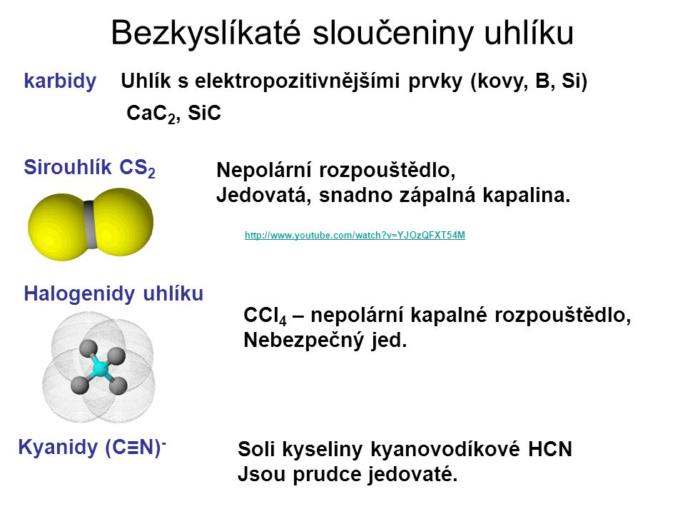Bezkyslíkaté sloučeniny uhlíku karbidy Sirouhlík CS 2 Halogenidy uhlíku Kyanidy (C≡N) - Uhlík s elektropozitivnějšími prvky (kovy, B, Si) CaC 2, SiC N
